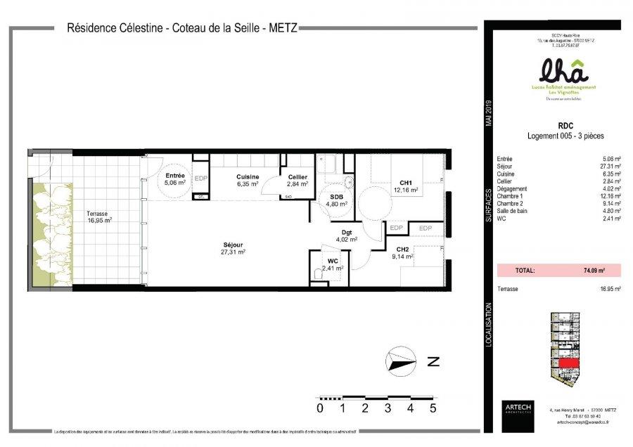 acheter appartement 3 pièces 74.09 m² metz photo 3