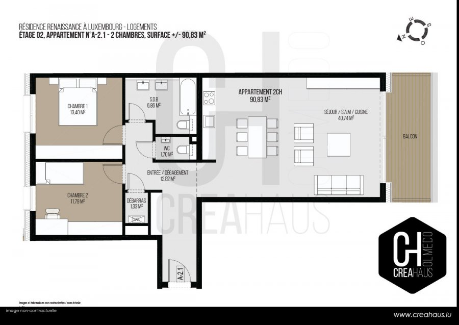 apartment for buy 2 bedrooms 90.83 m² luxembourg photo 3
