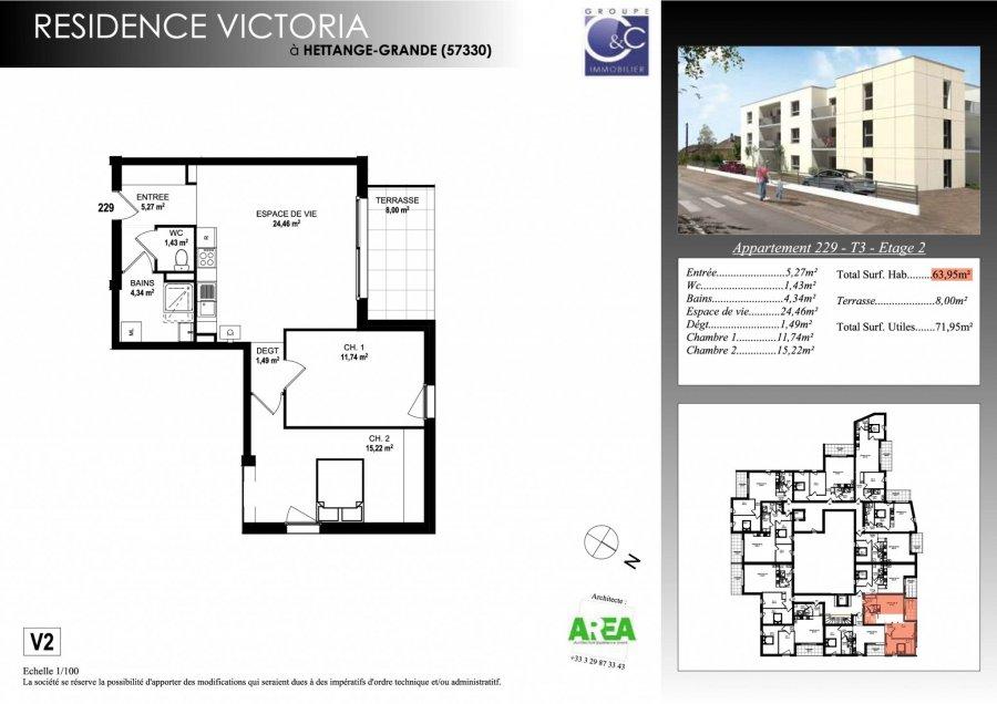 acheter appartement 3 pièces 63.95 m² hettange-grande photo 3