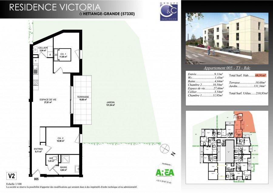 acheter appartement 3 pièces 68.27 m² hettange-grande photo 3