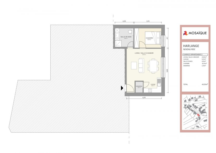 wohnung kaufen 1 schlafzimmer 46.23 m² harlange foto 3