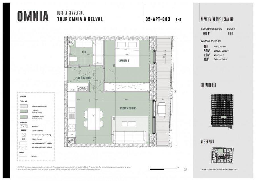 acheter appartement 1 chambre 45.9 m² belval photo 2