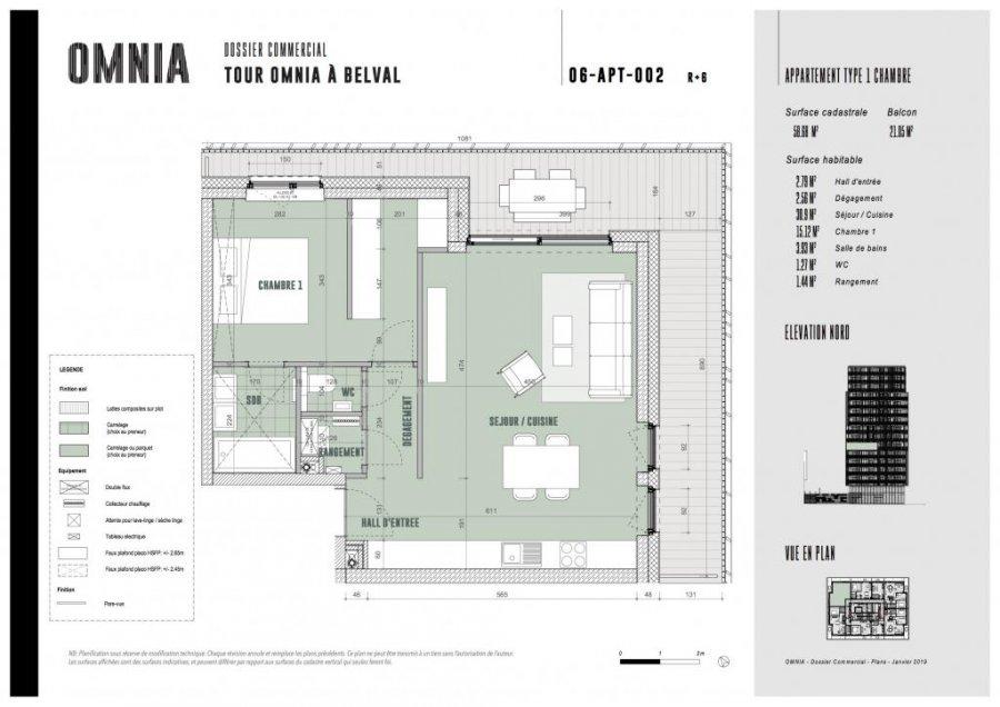 acheter appartement 1 chambre 58.68 m² belval photo 2
