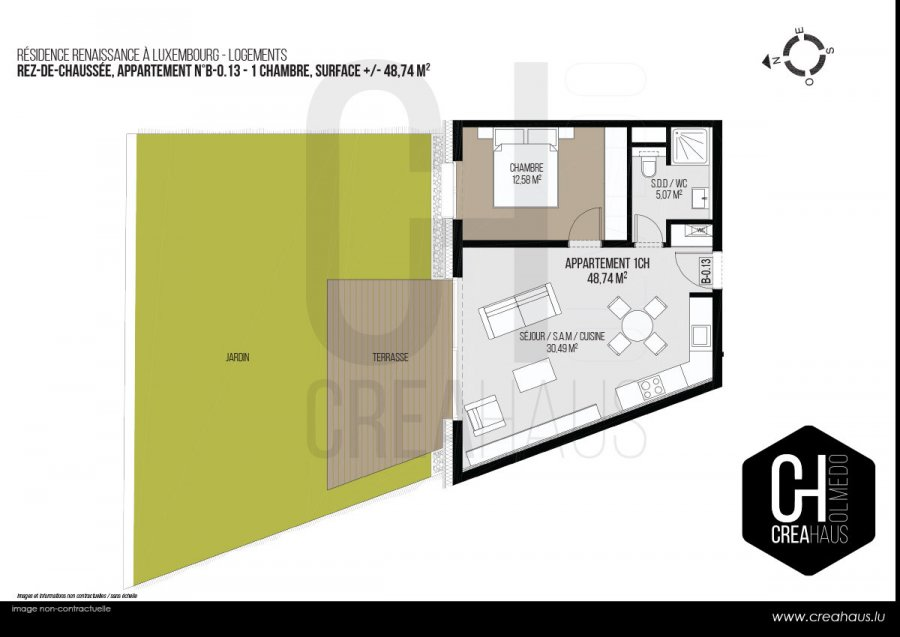 acheter appartement 1 chambre 48.74 m² luxembourg photo 3