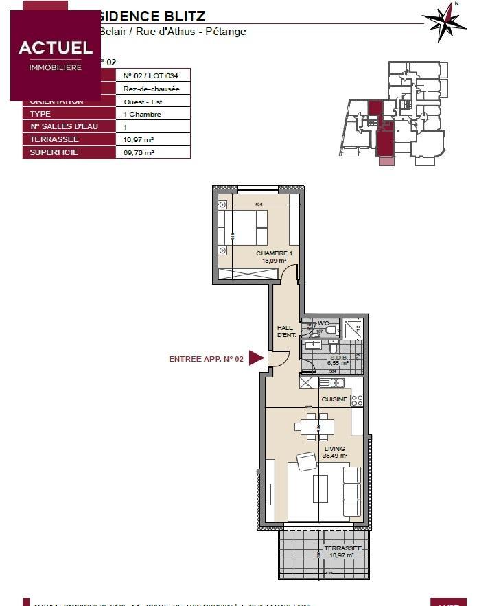 apartment for buy 1 bedroom 75 m² pétange photo 3