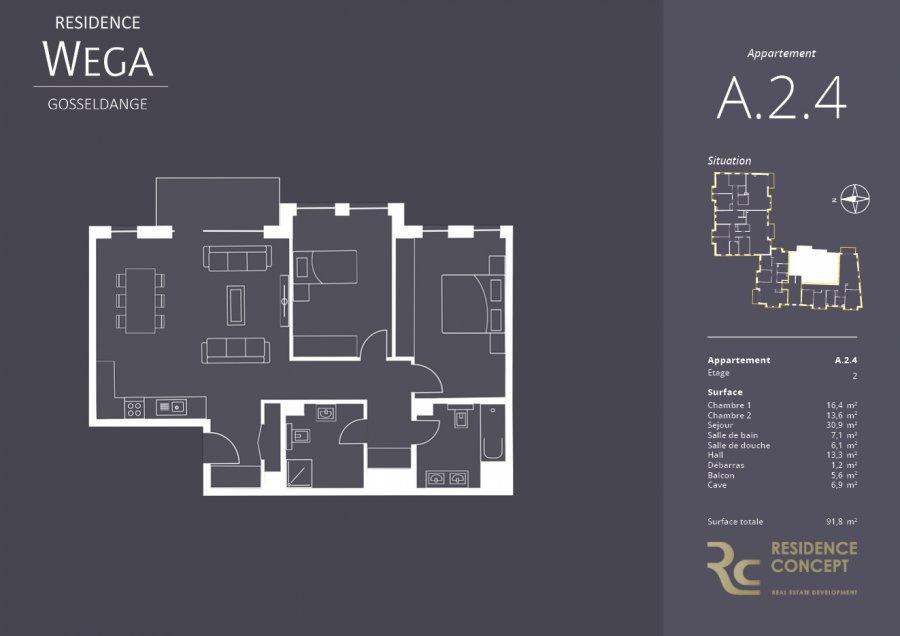 acheter appartement 2 chambres 91.8 m² gosseldange photo 2