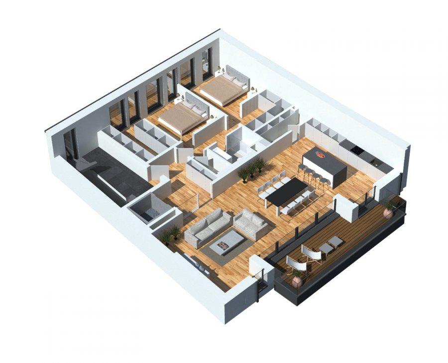 Vous pouvez dès maintenant réserver votre appartement de rêve dans cette résidence !  Appartement (2-4 chambres) 142,88m2 vendable avec  128.06m2 net habitable   +Balcon 16.3 m2  +Balcon 13.8 m2  + Jardin privatif (en option)   En modulant l'appartement en 3 chambres on obtient:  - Living-séjour-cuisine ouverte ou fermée à 42.8m2  - Hall d'entrée  - Débarras  - Wc séparé  - 1.Salle de douche  - 2.Salle de douche/bain  - Hall de nuit  - Chambre à coucher avec dressing 21.72m2  - Chambre à coucher à 15.66m2  - Chambre à coucher à 15.9m2  - Jardin privatif  - Balcon 16.3 m2  - Balcon 13.8 m2    En modulant l'appartement en 2 chambres on obtient:  - Living-séjour-cuisine ouverte ou fermée à 63,3m2  - Hall d'entrée  - Débarras  - Wc séparé  - Salle de douche  - Salle de douche/bain  - Hall de nuit  - Chambre à coucher avec dressing 17.8m2  - Chambre à coucher avec dressing 20.5m2  - Jardin privatif  - Balcon 16.3 m2  - Balcon 13.8 m2  Tout sur un étage/plain pied   Possibilité de moduler l'appartement avec 4 chambres à coucher!   Vente en futur état d'achèvement (VEFA)  Actuellement, il est encore possible de changer les dispositions des intérieurs des appartements, c'est-à-dire tailles des différents pièces ( living/ chambres/SBD/SDD) etc !!!  Les appartements/penthouses seront livrés 'clés en main'.  De nombreuses options et possibilités de personnalisation sont offertes pour chaque logement afin de permettre à chacun de définir l'ambiance, les couleurs ou encore les matériaux qui correspondent à ses envies.  L'ensemble de ces paramètres sont définis dans le cahier des charges de la construction, selon le type de logement envisagé.  Chaque lot dispose d'au moins une terrasse, d'un balcon et/ou d'un jardin privatif.  Spécifiés techniques :  - Ascenseur (privatif) - Ventilation contrôlée double flux - Chauffage au sol - Châssis PVC Triple vitrage - Stores électriques Raffstore - Finitions haut de gamme  La résidence sera érigée à deux pas du centre-ville/école primaire /