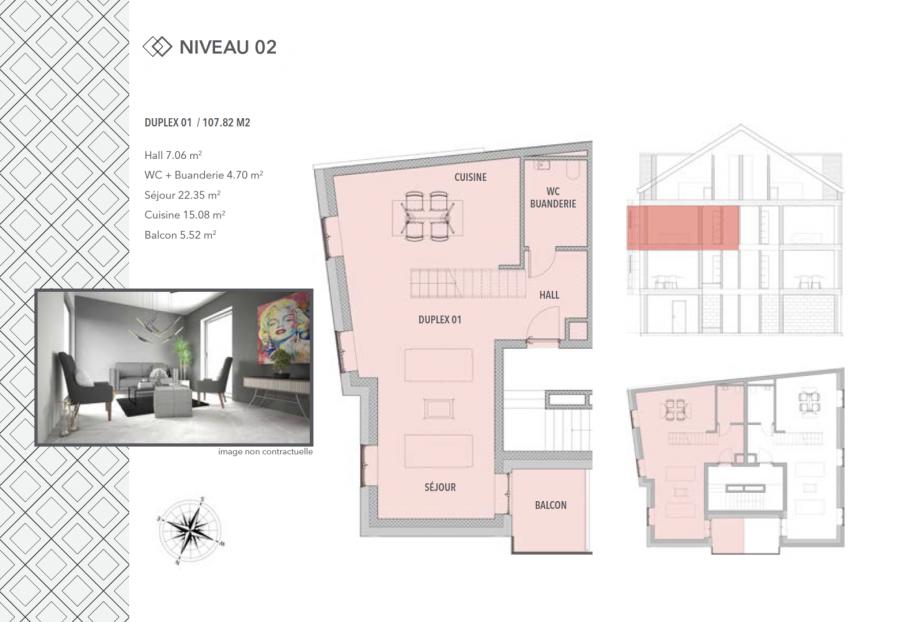 acheter appartement 2 chambres 107.82 m² schifflange photo 4