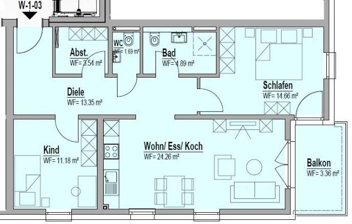 wohnung kaufen 3 zimmer 76.93 m² bitburg foto 2