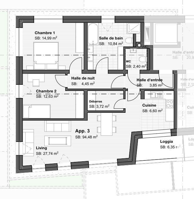 acheter appartement 2 chambres 90.26 m² gonderange photo 3