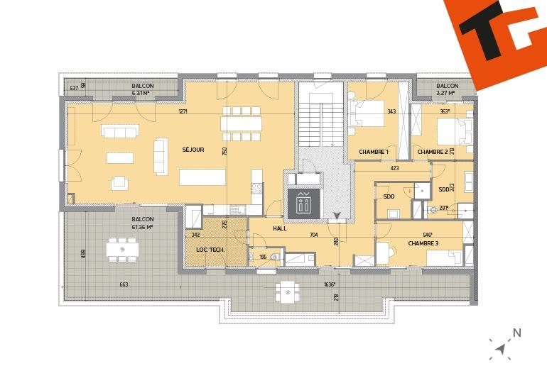 acheter penthouse 3 chambres 167.83 m² howald photo 2
