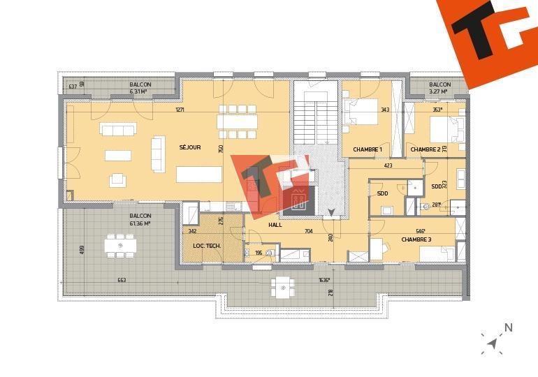 penthouse-wohnung kaufen 3 schlafzimmer 167.83 m² howald foto 3