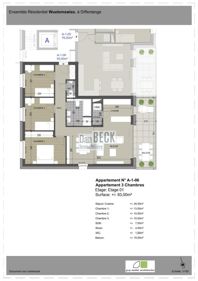 wohnung kaufen 3 schlafzimmer 93 m² differdange foto 2