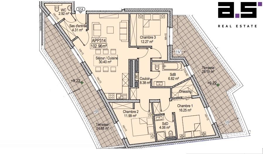 acheter penthouse 3 chambres 102.96 m² kayl photo 2