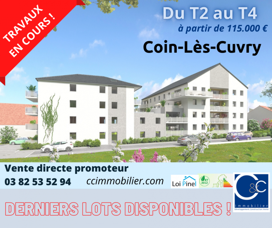 acheter appartement 2 pièces 42.92 m² coin-lès-cuvry photo 1