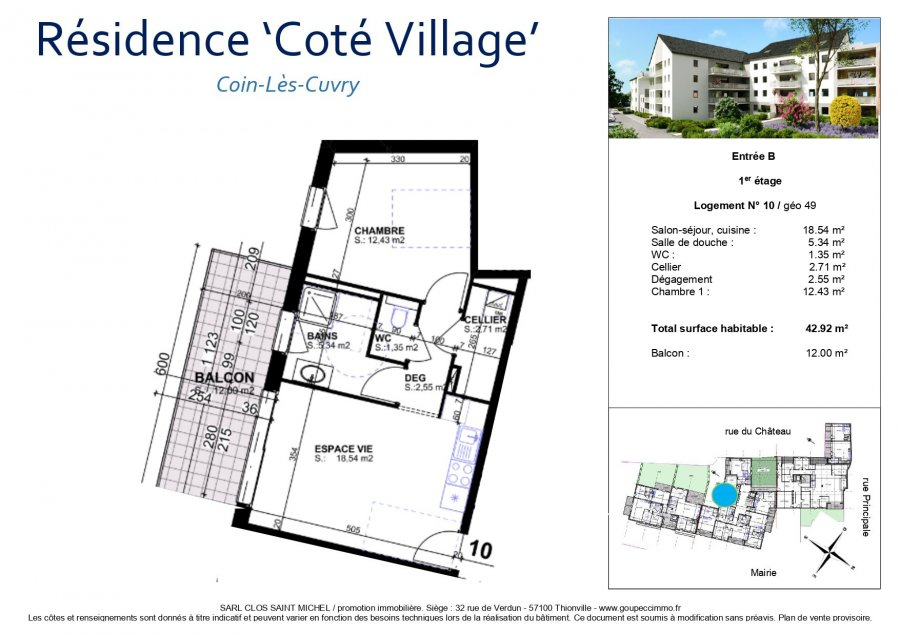 acheter appartement 2 pièces 42.92 m² coin-lès-cuvry photo 4