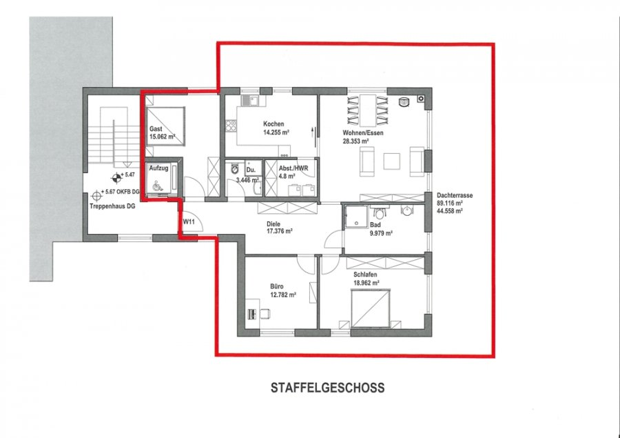 louer penthouse 4 pièces 141.3 m² merzig photo 7