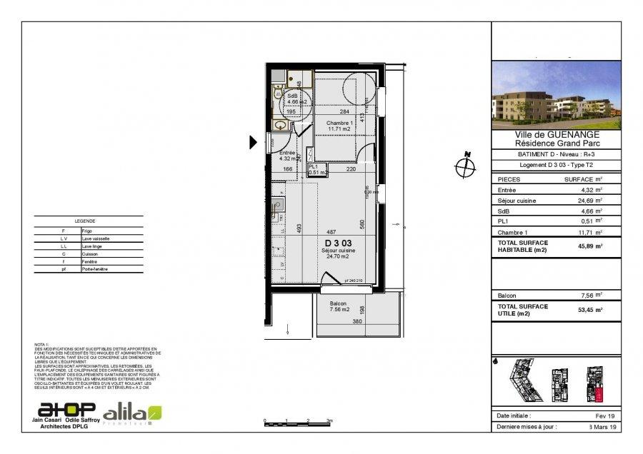 acheter appartement 2 pièces 45.89 m² guénange photo 2