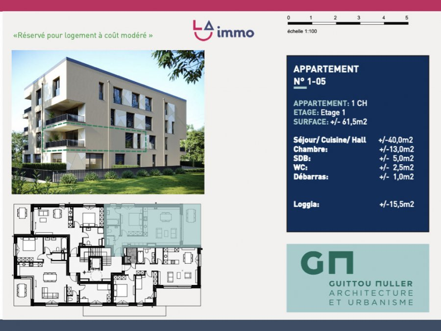 acheter appartement 1 chambre 61.55 m² bertrange photo 1