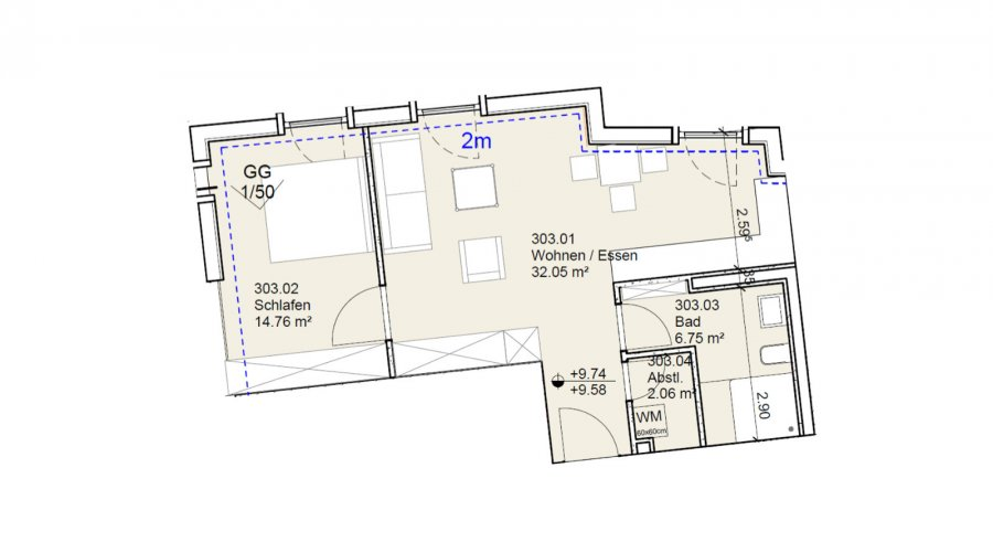 acheter appartement 1 chambre 56 m² echternach photo 2