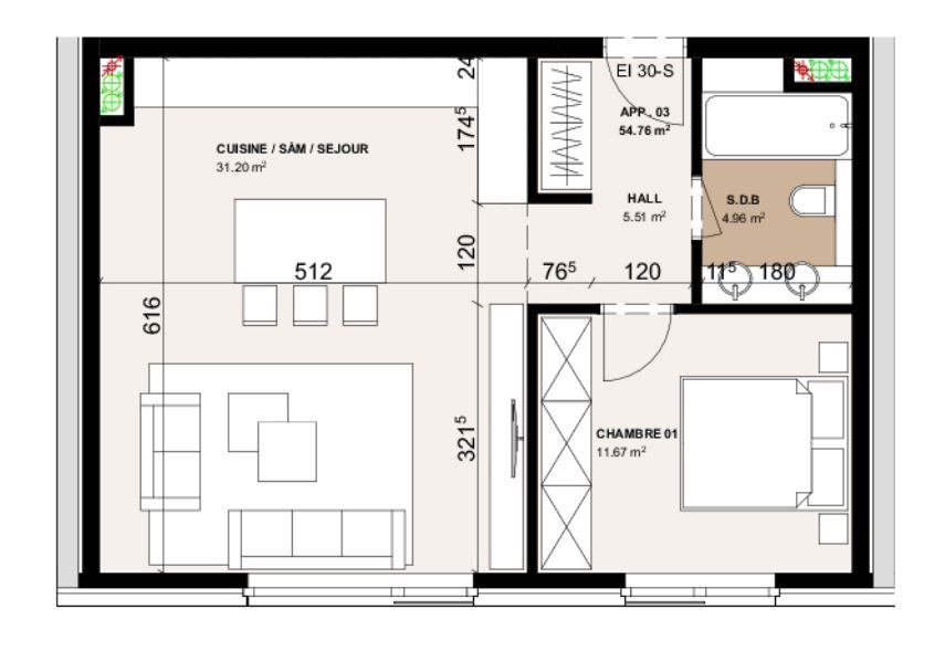 acheter appartement 1 chambre 54.76 m² luxembourg photo 2