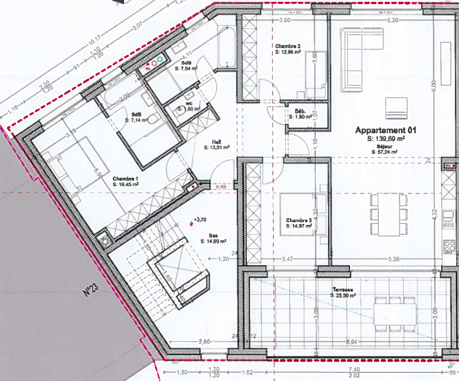 wohnung kaufen 3 schlafzimmer 139.69 m² bascharage foto 3