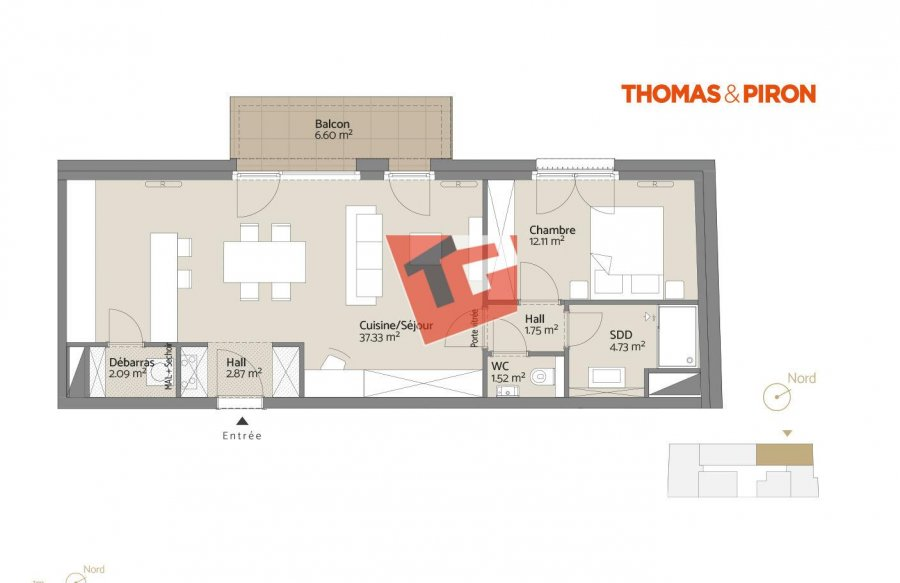 acheter appartement 1 chambre 64.41 m² luxembourg photo 1