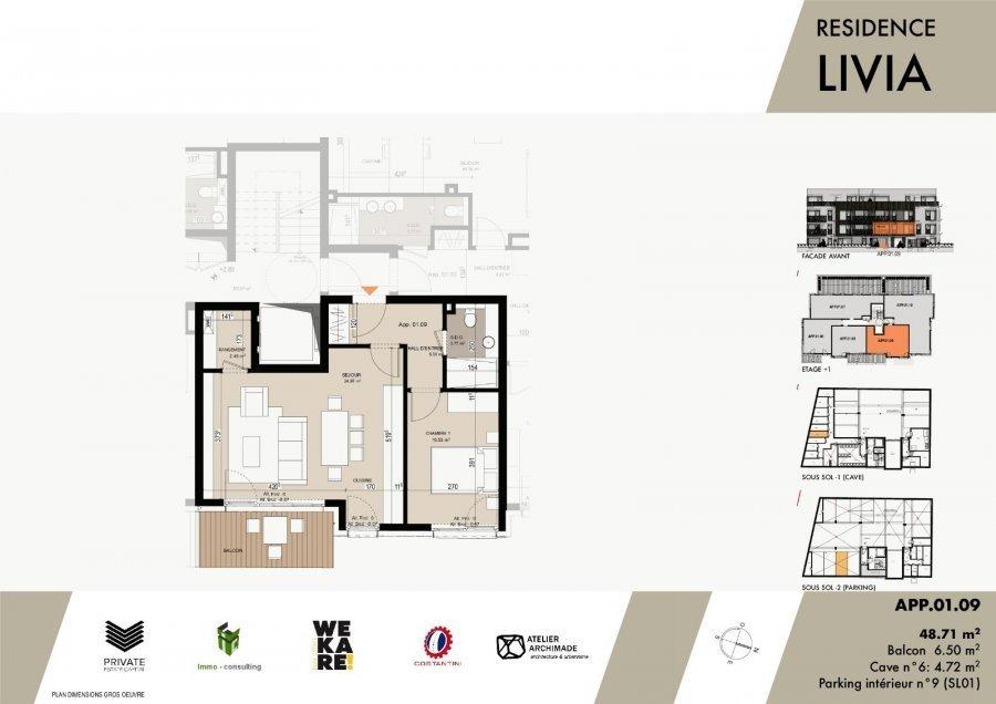 wohnung kaufen 1 schlafzimmer 51.31 m² luxembourg foto 3
