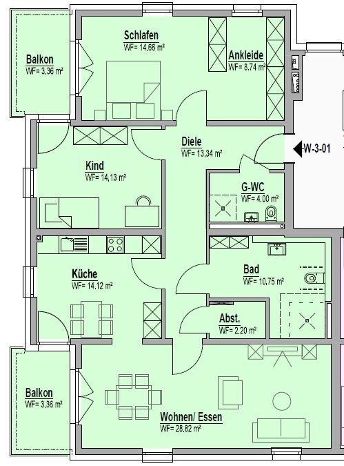 wohnung kaufen 3 zimmer 117.48 m² bitburg foto 2