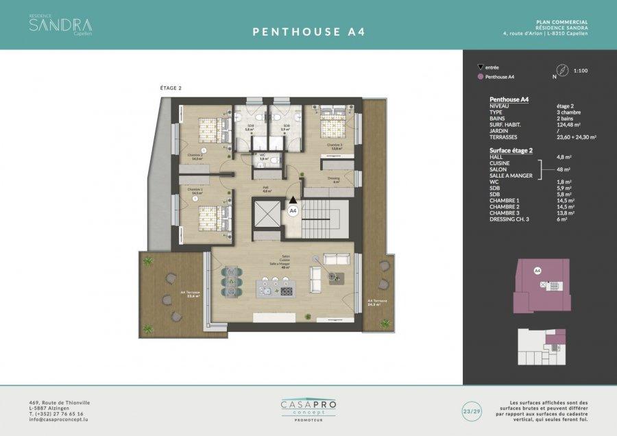 penthouse-wohnung kaufen 3 schlafzimmer 124.48 m² capellen foto 7