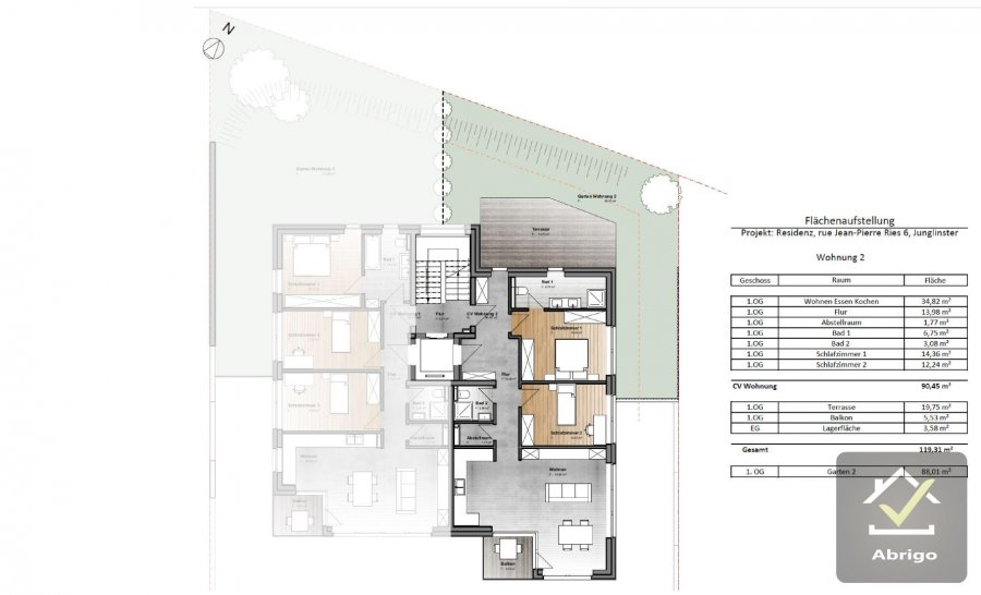 acheter appartement 2 chambres 90.45 m² junglinster photo 3