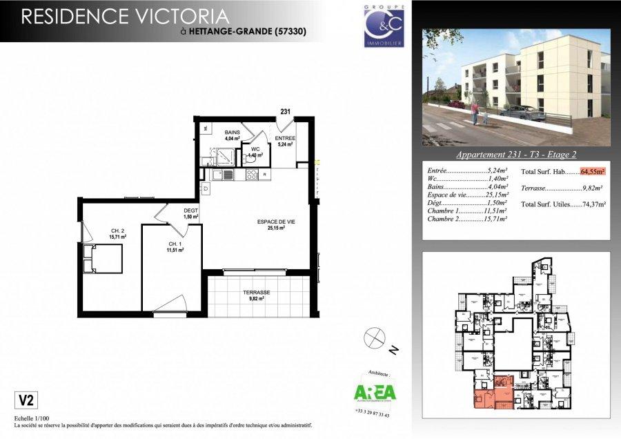 acheter appartement 3 pièces 64.55 m² hettange-grande photo 3