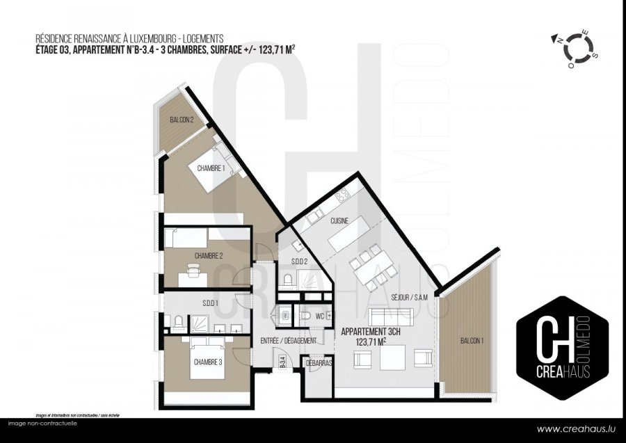 acheter appartement 3 chambres 123.71 m² luxembourg photo 3