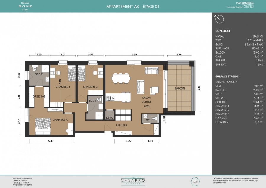 acheter appartement 3 chambres 125 m² olm photo 3