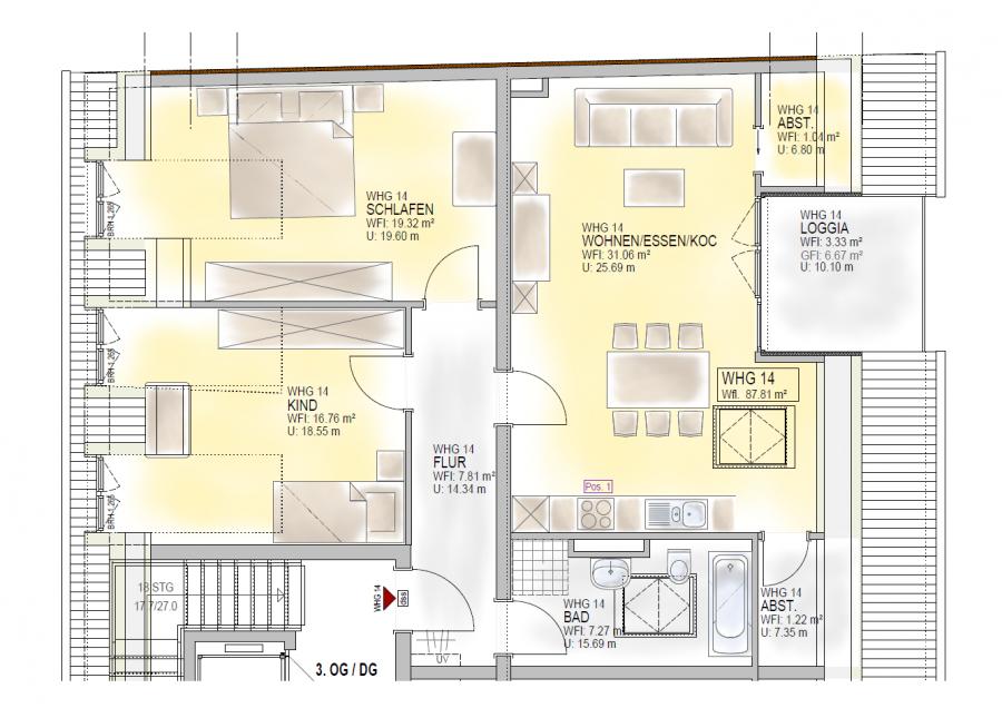 dachgeschoss mieten 3 zimmer 87.81 m² trier foto 3