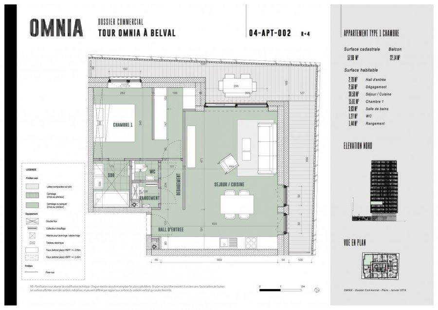 acheter appartement 1 chambre 57.98 m² belval photo 2
