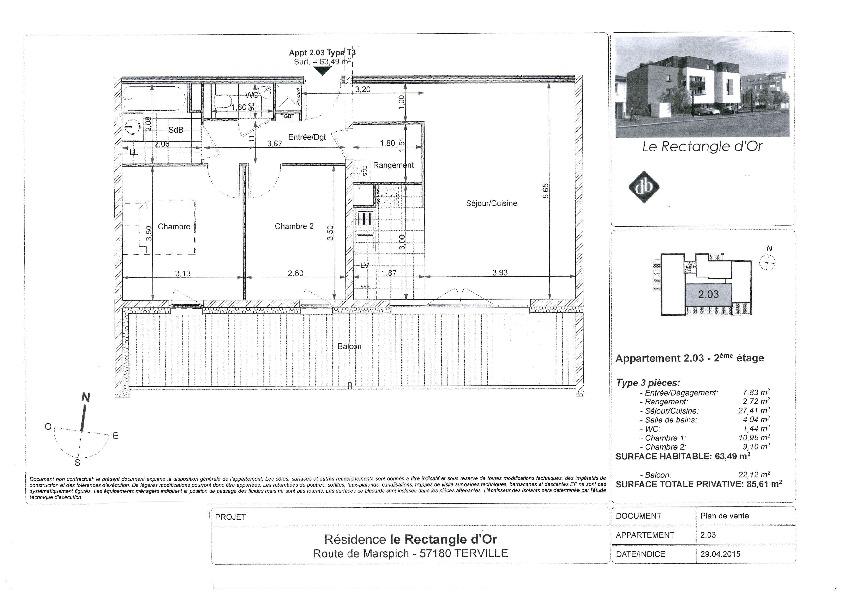 wohnung kaufen 3 zimmer 63.49 m² terville foto 2