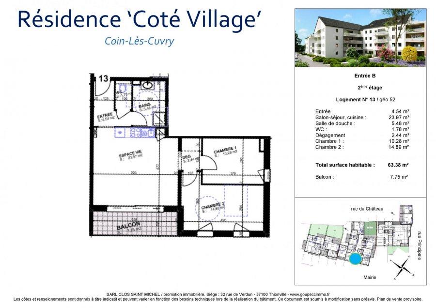 acheter appartement 3 pièces 63.38 m² coin-lès-cuvry photo 3