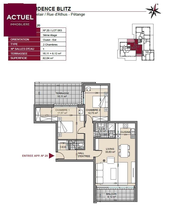 acheter penthouse 2 chambres 94 m² pétange photo 3