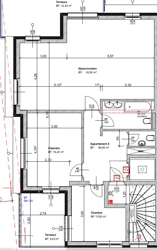 Penthouse à louer 2 chambres à Dudelange