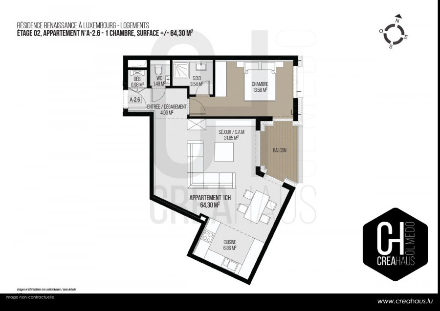 acheter appartement 1 chambre 64.3 m² luxembourg photo 3