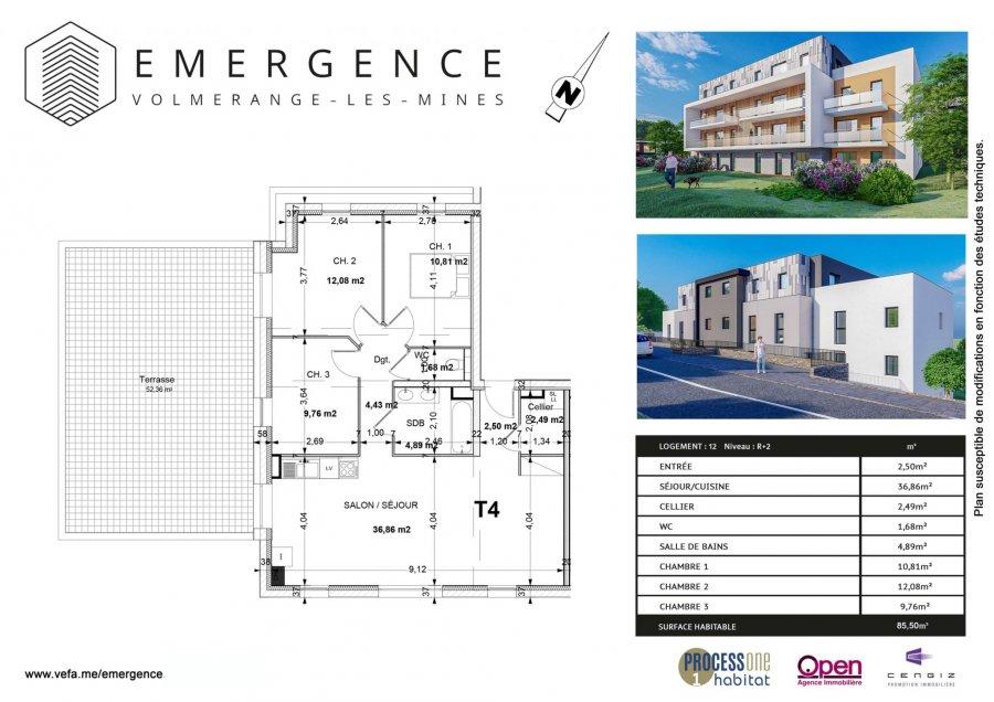acheter appartement 4 pièces 85.5 m² volmerange-les-mines photo 2