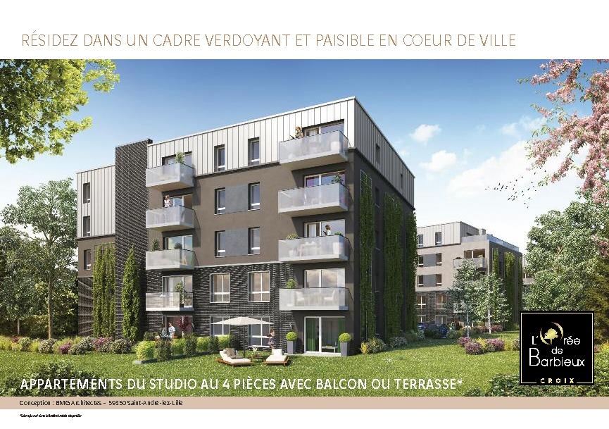 acheter appartement 3 pièces 60 m² croix photo 1