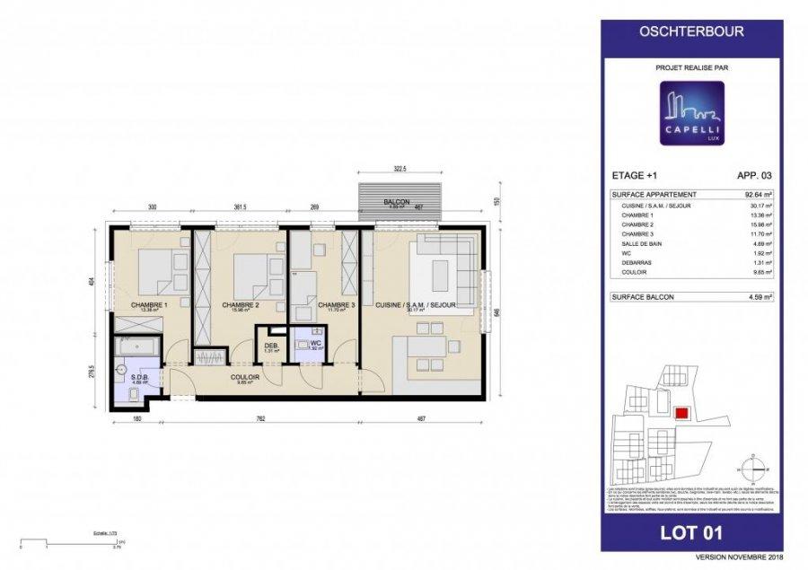acheter appartement 3 chambres 92.64 m² differdange photo 3