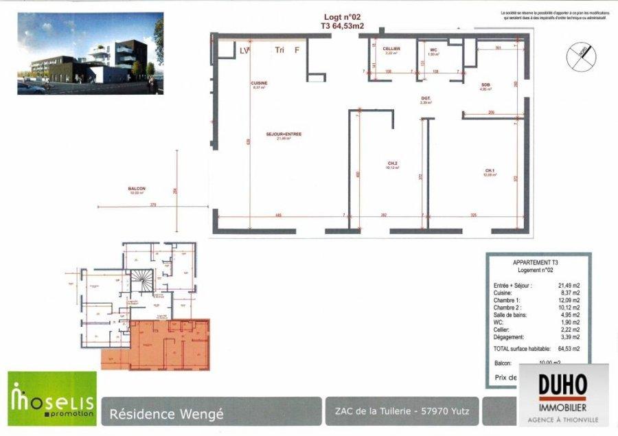 acheter appartement 3 pièces 64.53 m² yutz photo 2