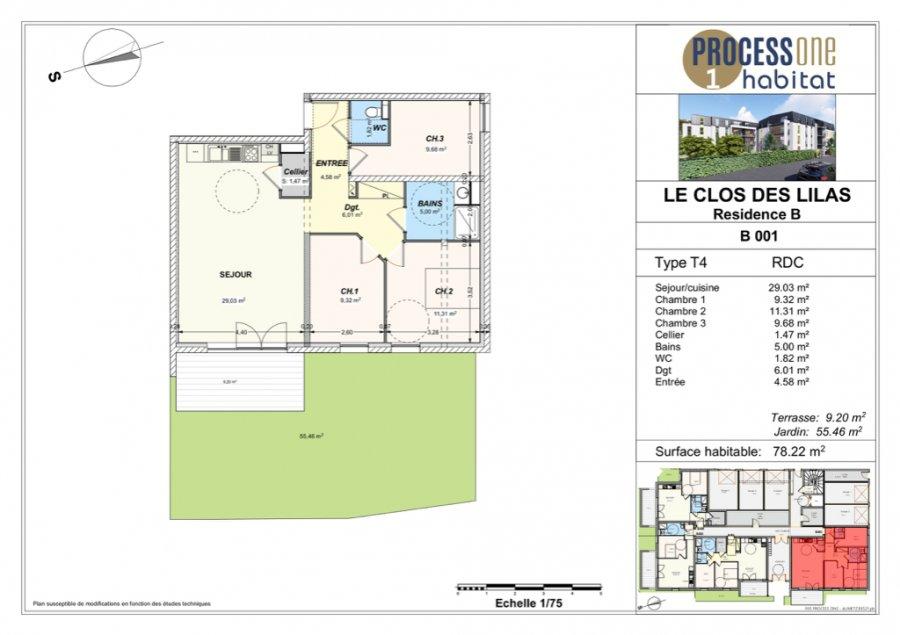 acheter appartement 4 pièces 78.22 m² aumetz photo 1