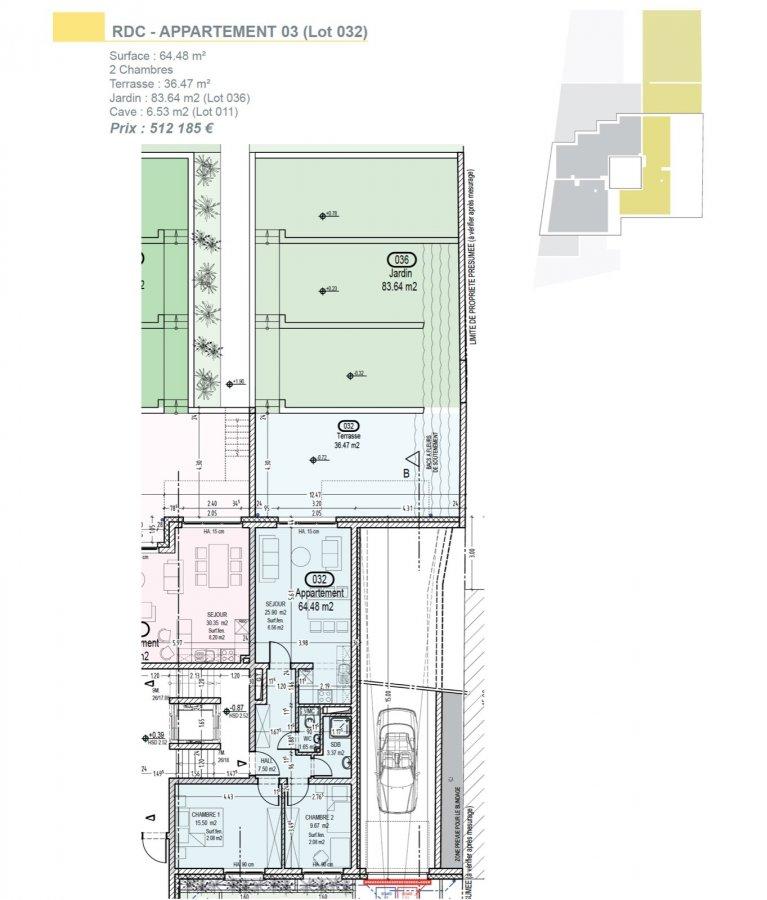 Votre agence IMMO LORENA de Pétange vous propose dans une résidence contemporaine en future construction de 13 unités sur 4 niveaux située à Rodange, 45 chemin de Brouck 1 appartement de 66.65 m2 au REZ DE CHAUSSÉE avec ascenseur décomposé de la façon suivante:  - Hall d'entrée de 4,08 m2 - Cuisine ouverte et salon de 30,35 m2 donnant accès à la terrasse de 72,83 m2 et son jardin privatif de 81,53 m2. - Salle de bain de 4,25 m2 - Un WC sépare de 1,71 m2 - Une première chambre de 14,31 m2, une deuxième chambre de 9,25 m2 - Une cave privative et un emplacement pour lave-linge et sèche-linge au sous sol. Possibilité d'acquérir un emplacement intérieur (25.000 €) ou un garage fermé intérieur (35.000€).  Cette résidence de performance énergétique AB construite selon les règles de l'art associe une qualité de haut standing à une construction traditionnelle luxembourgeoise, châssis en PVC triple vitrage, ventilation double flux, chauffage au sol, video - parlophone, système domotique, etc... Avec des pièces de vie aux beaux volumes et lumineuses grâce à de belles baies vitrées.  Ces biens constituent entres autre de par leur situation, un excellent investissement. Le prix comprend les garanties biennales et décennales et une TVA à 3%. Livraison prévue septembre 2021.  Pour tout contact: Joanna RICKAL +352 621 36 56 40 Vitor Pires: +352 691 761 110   L'agence ImmoLorena est à votre disposition pour toutes vos recherches ainsi que pour vos transactions LOCATIONS ET VENTES au Luxembourg, en France et en Belgique. Nous sommes également ouverts les samedis de 10h à 19h sans interruption. Demander plus d'informations