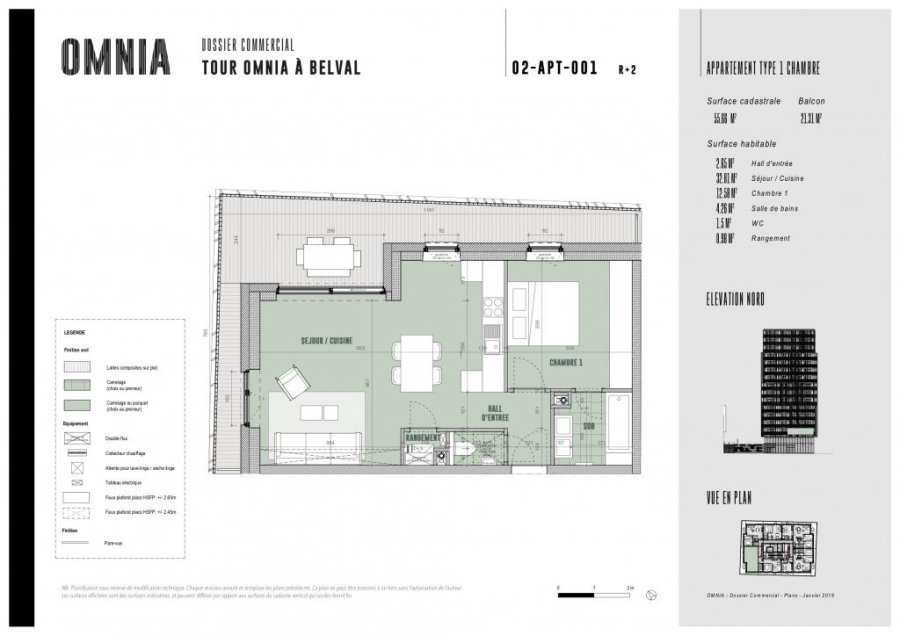 acheter appartement 1 chambre 55.66 m² belval photo 2