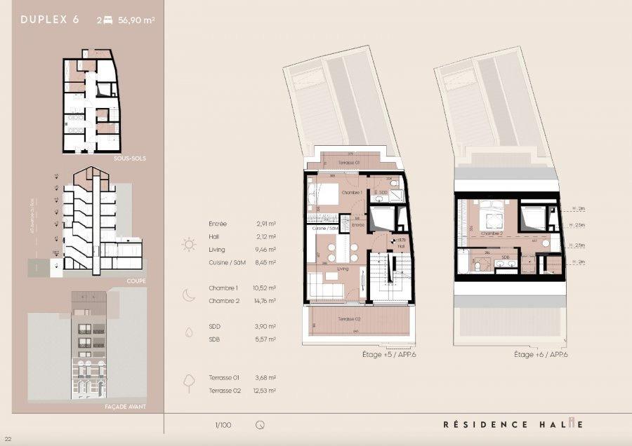 penthouse-wohnung kaufen 2 schlafzimmer 60 m² luxembourg foto 2