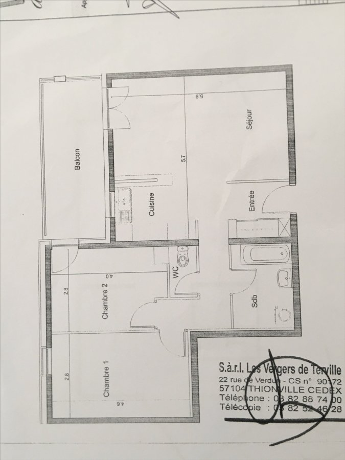 Appartement à vendre F3 à Terville
